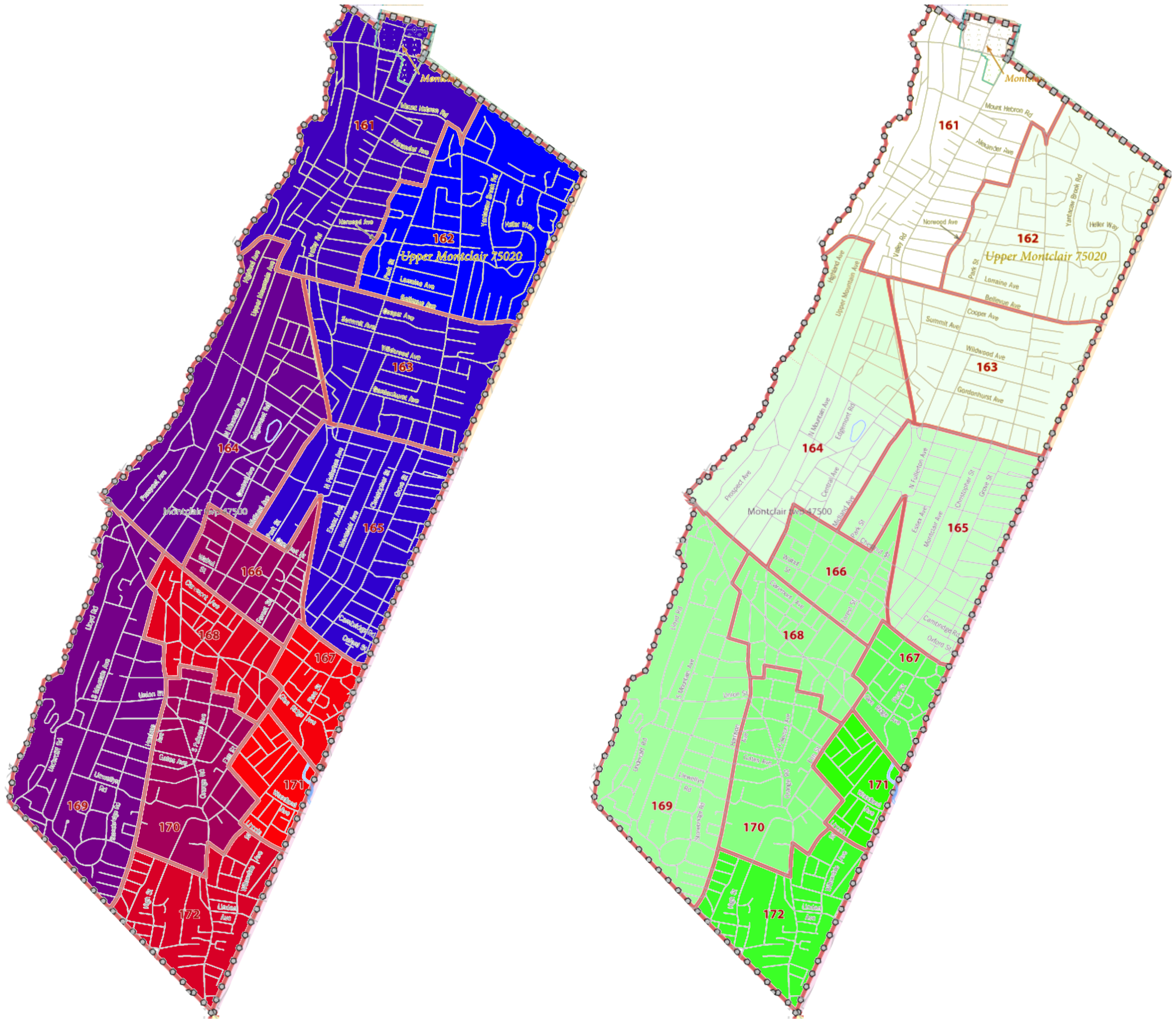 Montclair's lowest-income neighborhoods (red areas in left map) coincide with areas of greatest racial minority concentration (green areas in right map). This proposal targets people in the 4th Ward and parts of the 3rd Ward (red areas) – as well as similar parts of neighboring towns. US Census tracts 2020 data.